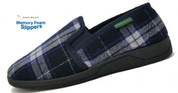 Men's Classic Check Slippers Dk Navy